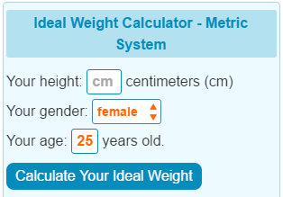 Ideal Weight Calculator - Metric System